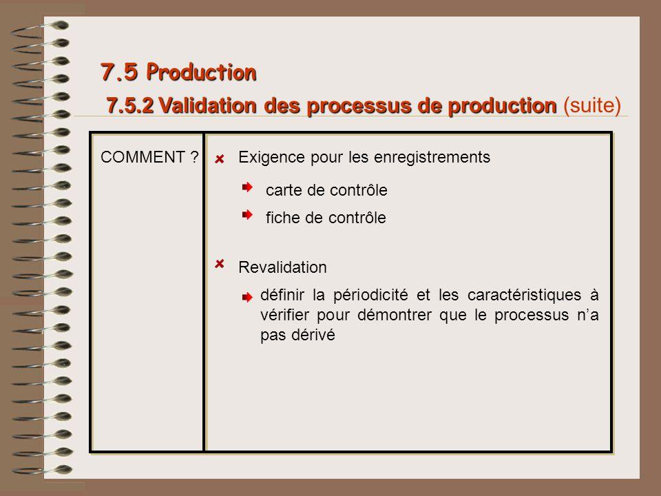 7.5.2 Validation des processus de production 7.5.2 Validation des processus de production (suite) 7.5 Production COMMENT ?Exigence pour les enregistre