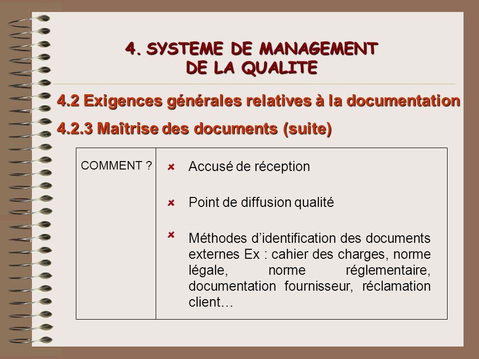 4. SYSTEME DE MANAGEMENT DE LA QUALITE 4.2 Exigences générales relatives à la documentation 4.2.3 Maîtrise des documents (suite) COMMENT ? Accusé de r