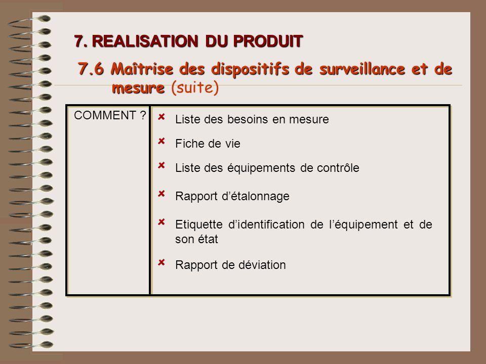 COMMENT ? Liste des besoins en mesure Fiche de vie Liste des équipements de contrôle Rapport détalonnage 7. REALISATION DU PRODUIT 7.6 Ma î trise des