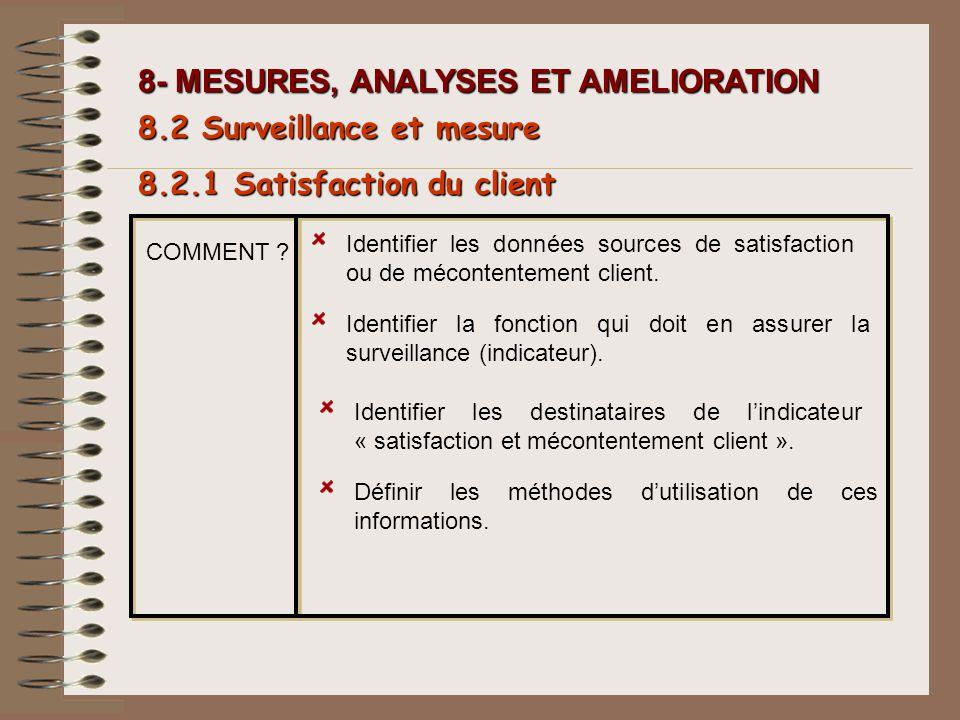 8- MESURES, ANALYSES ET AMELIORATION Identifier les données sources de satisfaction ou de mécontentement client. Identifier la fonction qui doit en as