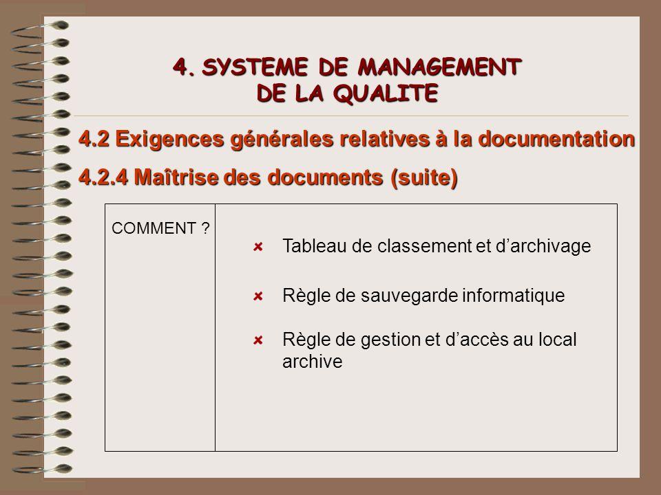 4. SYSTEME DE MANAGEMENT DE LA QUALITE 4.2 Exigences générales relatives à la documentation 4.2.4 Maîtrise des documents (suite) COMMENT ? Tableau de