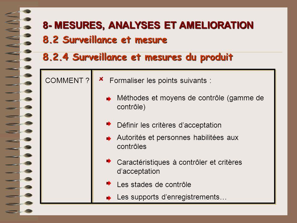 8- MESURES, ANALYSES ET AMELIORATION COMMENT ?Formaliser les points suivants : 8.2.4 Surveillance et mesures du produit 8.2 Surveillance et mesure Mét