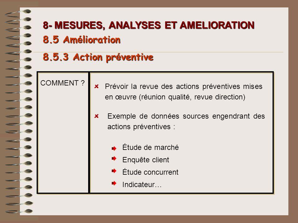 8- MESURES, ANALYSES ET AMELIORATION 8.5 Am é lioration 8.5.3 Action pr é ventive COMMENT ? Prévoir la revue des actions préventives mises en œuvre (r