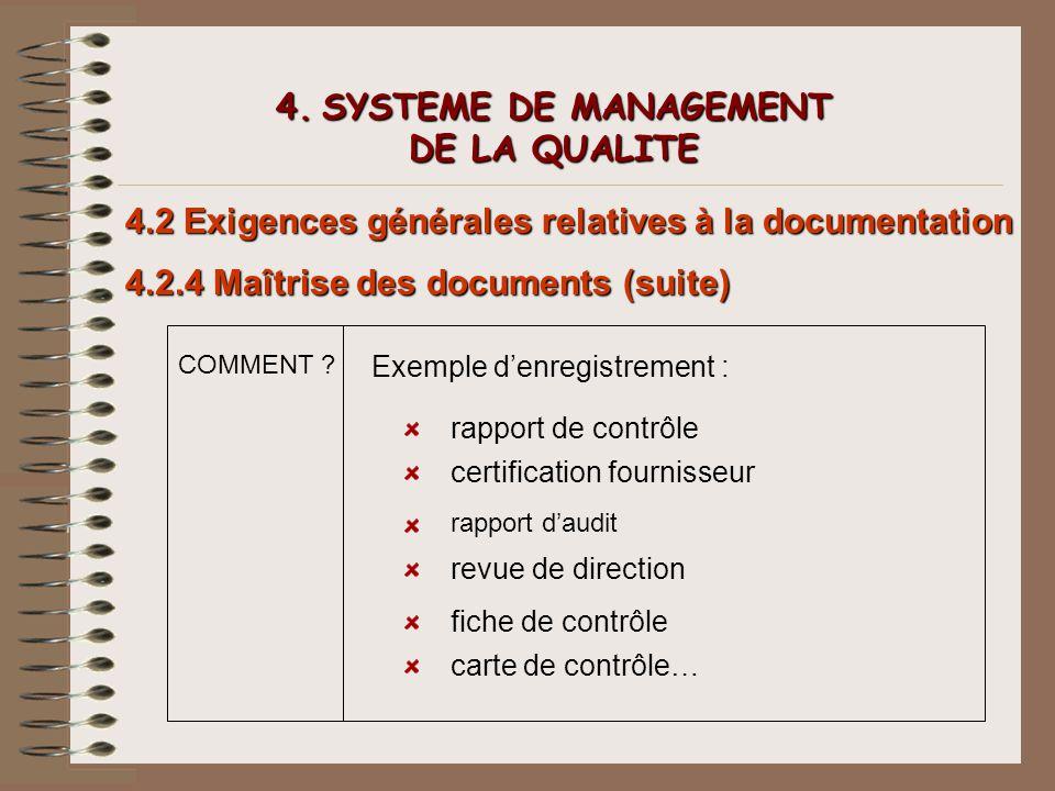 4. SYSTEME DE MANAGEMENT DE LA QUALITE 4.2 Exigences générales relatives à la documentation 4.2.4 Maîtrise des documents (suite) COMMENT ? Exemple den