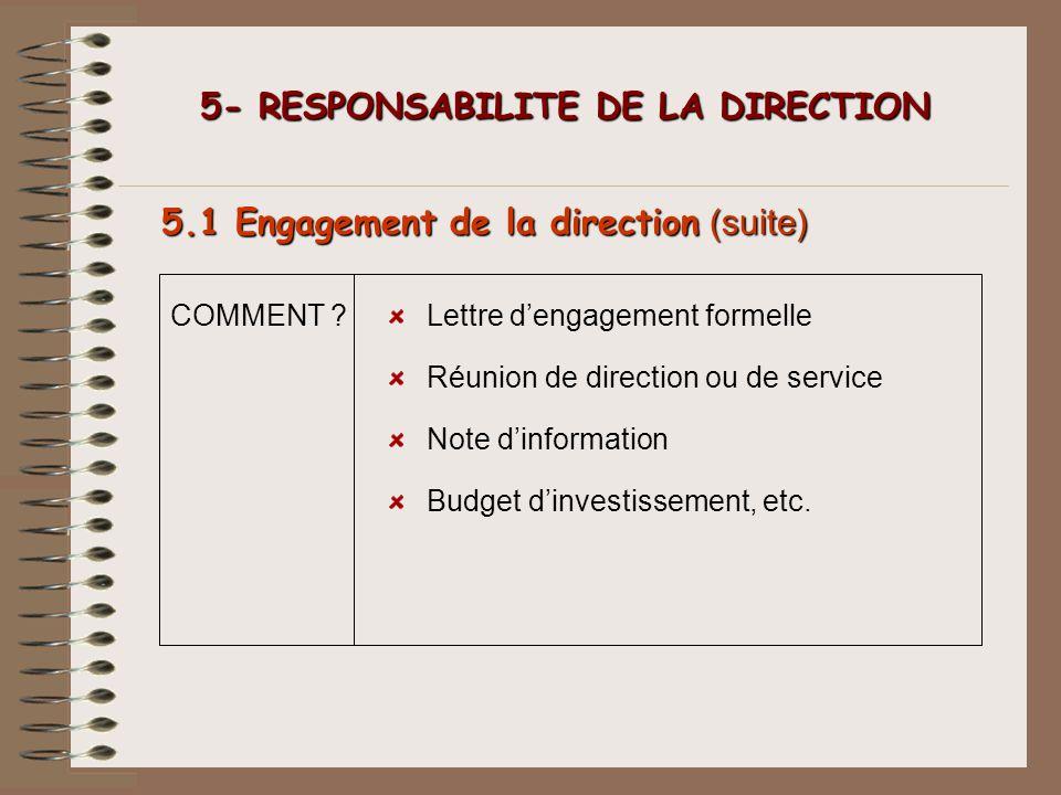 5- RESPONSABILITE DE LA DIRECTION 5- RESPONSABILITE DE LA DIRECTION 5.1 Engagement de la direction (suite) COMMENT ?Lettre dengagement formelle Réunio