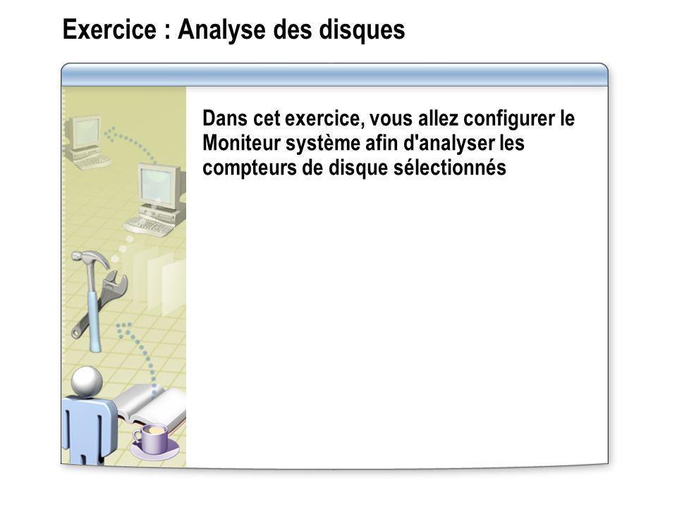 Exercice : Analyse des disques Dans cet exercice, vous allez configurer le Moniteur système afin d'analyser les compteurs de disque sélectionnés