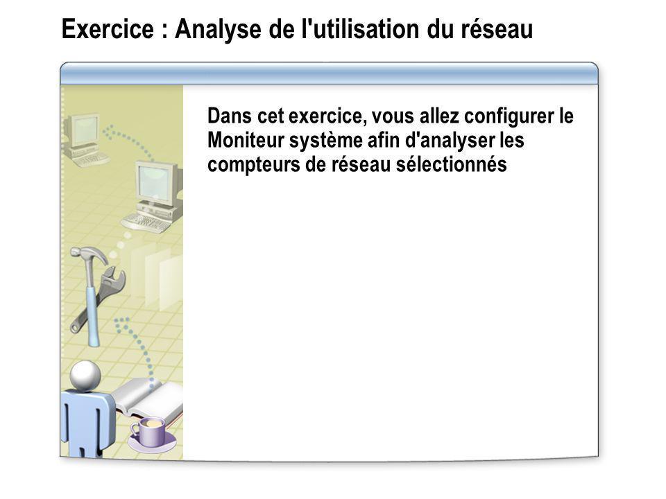 Exercice : Analyse de l'utilisation du réseau Dans cet exercice, vous allez configurer le Moniteur système afin d'analyser les compteurs de réseau sél