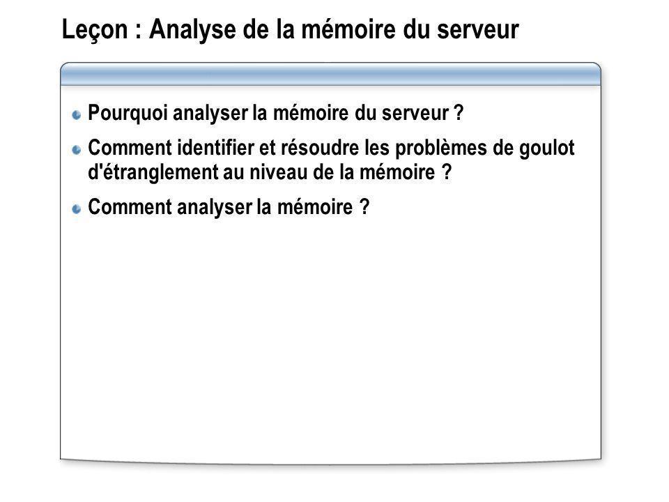 Leçon : Analyse de la mémoire du serveur Pourquoi analyser la mémoire du serveur ? Comment identifier et résoudre les problèmes de goulot d'étrangleme
