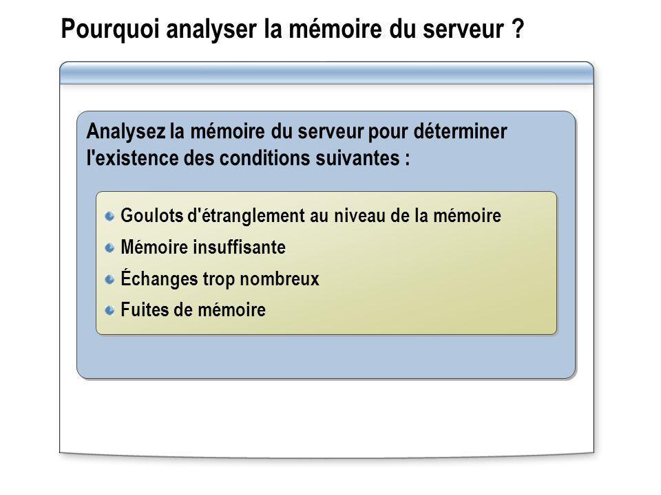Pourquoi analyser la mémoire du serveur ? Analysez la mémoire du serveur pour déterminer l'existence des conditions suivantes : Goulots d'étranglement