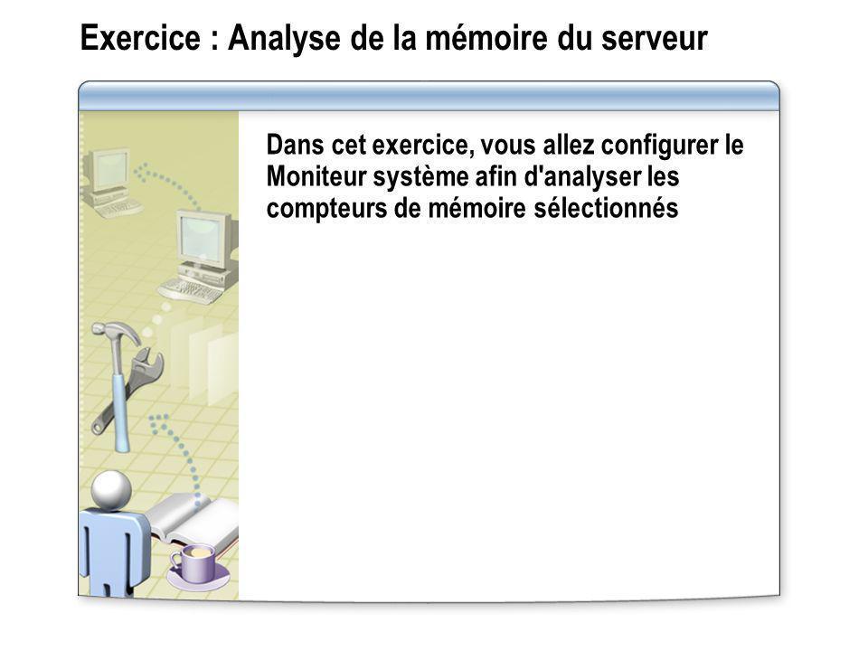 Exercice : Analyse de la mémoire du serveur Dans cet exercice, vous allez configurer le Moniteur système afin d'analyser les compteurs de mémoire séle