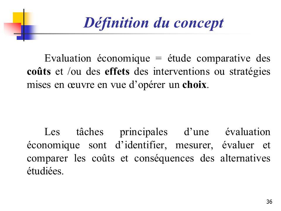 Définition du concept Evaluation économique = étude comparative des coûts et /ou des effets des interventions ou stratégies mises en œuvre en vue dopé