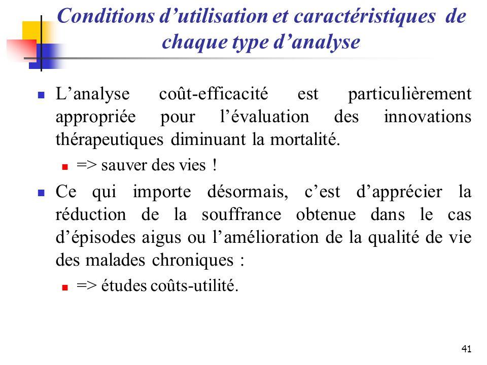 Conditions dutilisation et caractéristiques de chaque type danalyse Lanalyse coût-efficacité est particulièrement appropriée pour lévaluation des inno