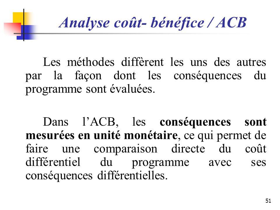 Analyse coût- bénéfice / ACB Les méthodes diffèrent les uns des autres par la façon dont les conséquences du programme sont évaluées. Dans lACB, les c