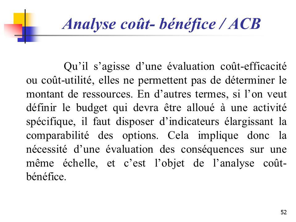 Analyse coût- bénéfice / ACB Quil sagisse dune évaluation coût-efficacité ou coût-utilité, elles ne permettent pas de déterminer le montant de ressour