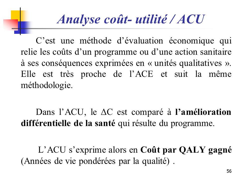 Analyse coût- utilité / ACU Cest une méthode dévaluation économique qui relie les coûts dun programme ou dune action sanitaire à ses conséquences expr