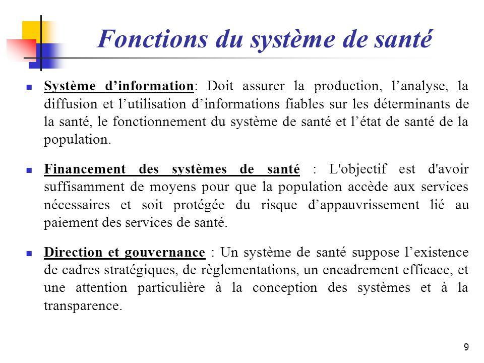 Fonctions du système de santé Système dinformation: Doit assurer la production, lanalyse, la diffusion et lutilisation dinformations fiables sur les d
