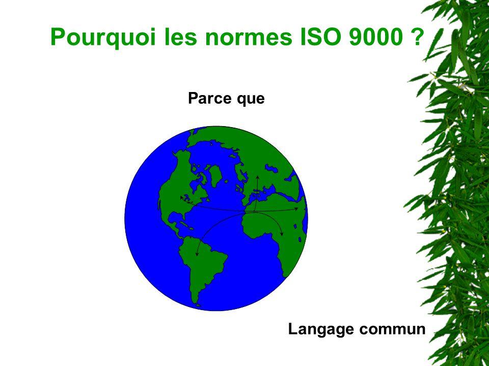 Pourquoi les normes ISO 9000 ? Parce que Langage commun