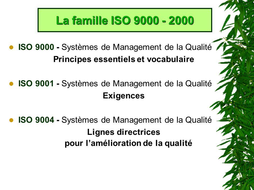 ISO 9000 - Systèmes de Management de la Qualité Principes essentiels et vocabulaire ISO 9001 - Systèmes de Management de la Qualité Exigences ISO 9004 - Systèmes de Management de la Qualité Lignes directrices pour lamélioration de la qualité La famille ISO 9000 - 2000
