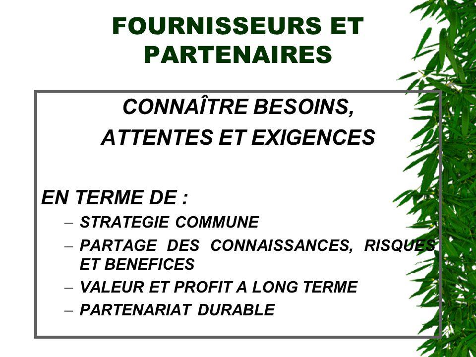 FOURNISSEURS ET PARTENAIRES CONNAÎTRE BESOINS, ATTENTES ET EXIGENCES EN TERME DE : –STRATEGIE COMMUNE –PARTAGE DES CONNAISSANCES, RISQUES ET BENEFICES –VALEUR ET PROFIT A LONG TERME –PARTENARIAT DURABLE