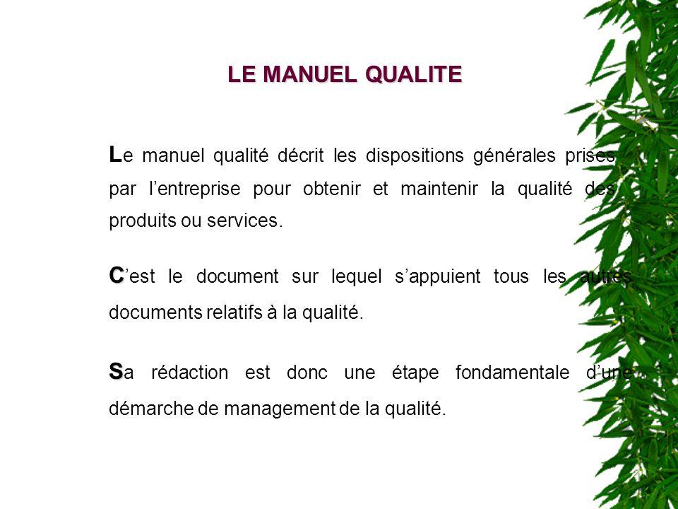 LE MANUEL QUALITE C C est le document sur lequel sappuient tous les autres documents relatifs à la qualité. S S a rédaction est donc une étape fondame