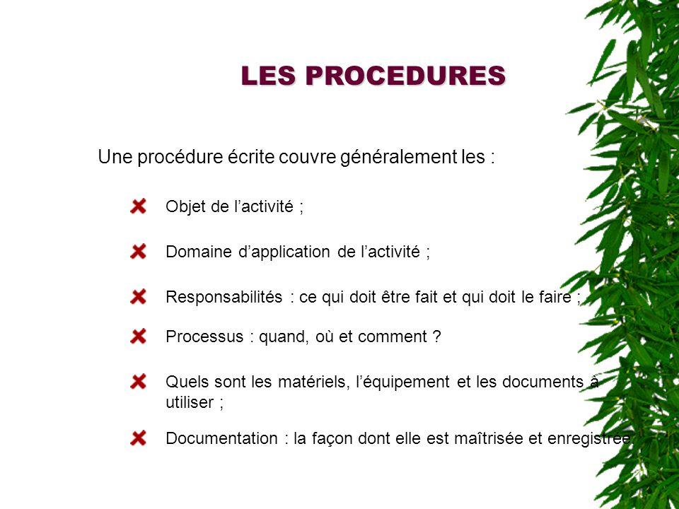 LES PROCEDURES Une procédure écrite couvre généralement les : Objet de lactivité ; Domaine dapplication de lactivité ; Responsabilités : ce qui doit être fait et qui doit le faire ; Processus : quand, où et comment .