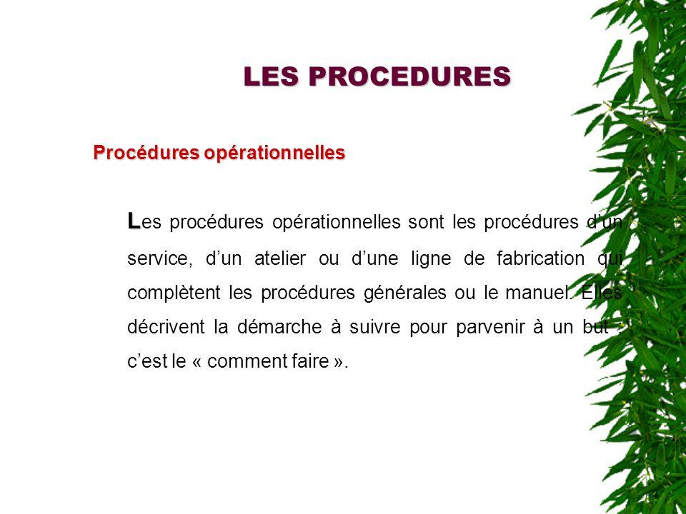 LES PROCEDURES Procédures opérationnelles L L es procédures opérationnelles sont les procédures dun service, dun atelier ou dune ligne de fabrication qui complètent les procédures générales ou le manuel.