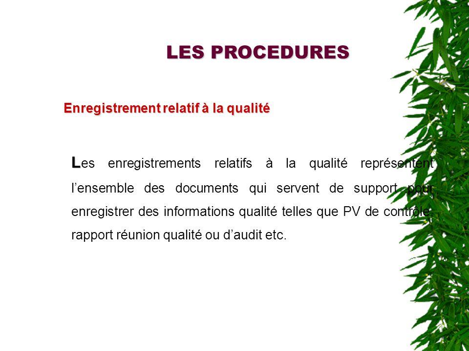 LES PROCEDURES Enregistrement relatif à la qualité L L es enregistrements relatifs à la qualité représentent lensemble des documents qui servent de support pour enregistrer des informations qualité telles que PV de contrôle, rapport réunion qualité ou daudit etc.