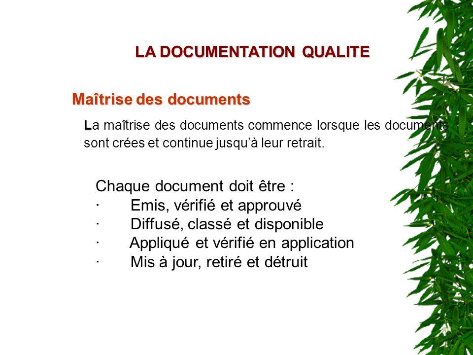 LA DOCUMENTATION QUALITE Maîtrise des documents Chaque document doit être : · Emis, vérifié et approuvé · Diffusé, classé et disponible · Appliqué et