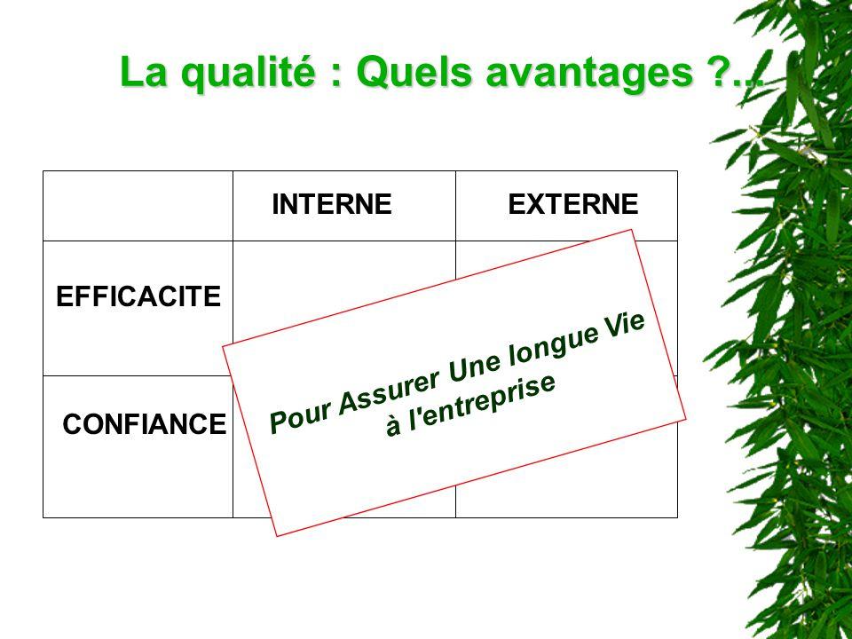 La qualité : Quels avantages ?... INTERNEEXTERNE EFFICACITE CONFIANCE Pour Assurer Une longue Vie à l'entreprise