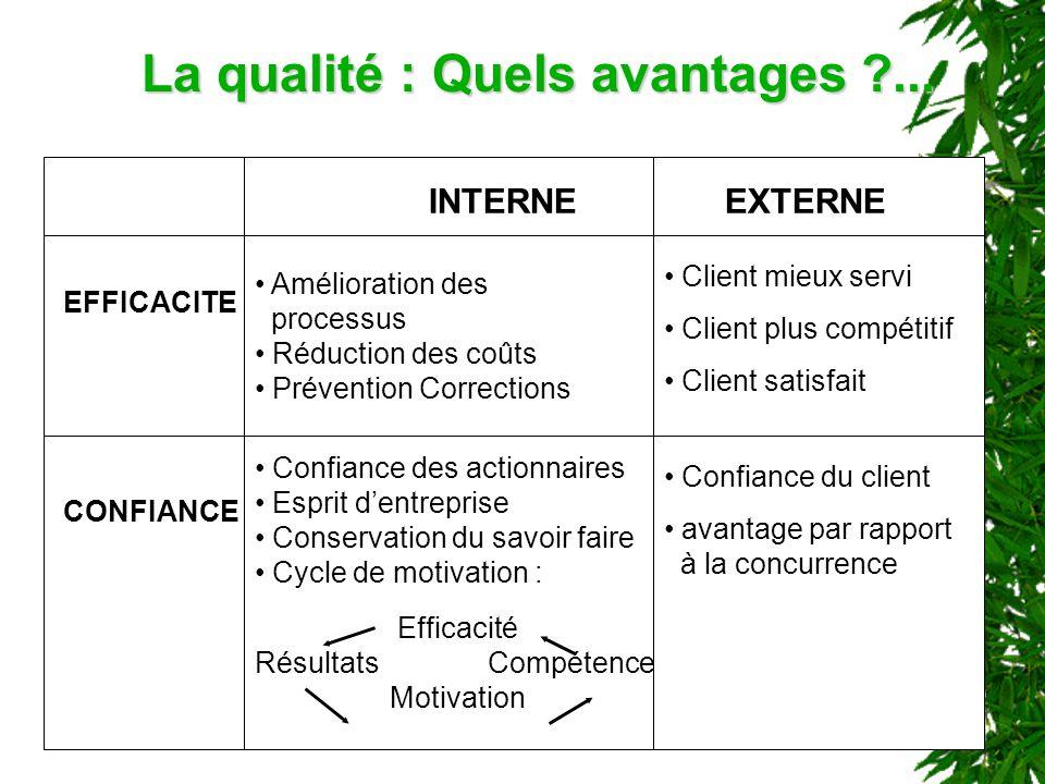 La qualité : Quels avantages ?... Amélioration des processus Réduction des coûts Prévention Corrections INTERNEEXTERNE EFFICACITE CONFIANCE Client mie