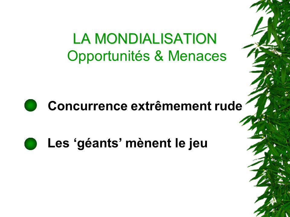 LA MONDIALISATION LA MONDIALISATION Opportunités & Menaces Concurrence extrêmement rude Les géants mènent le jeu