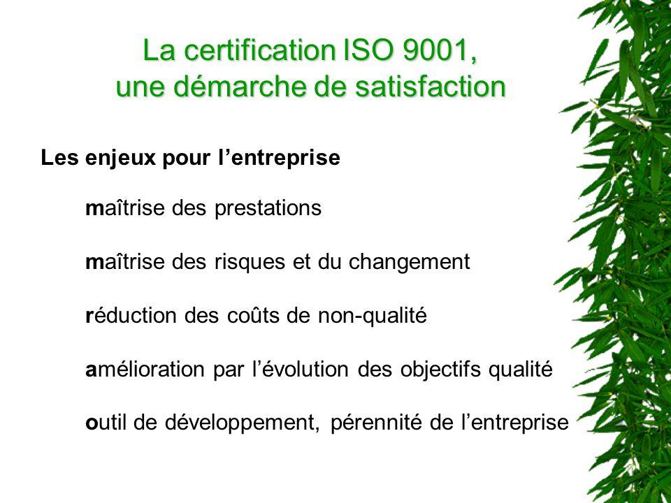 La certification ISO 9001, une démarche de satisfaction Les enjeux pour lentreprise maîtrise des prestations maîtrise des risques et du changement réduction des coûts de non-qualité amélioration par lévolution des objectifs qualité outil de développement, pérennité de lentreprise