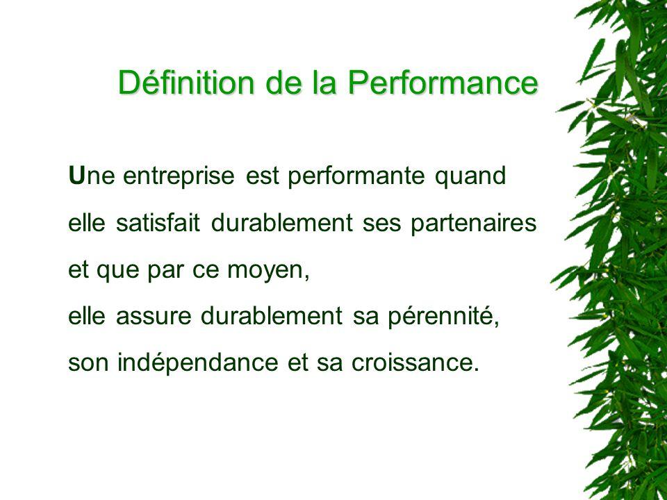 Une entreprise est performante quand elle satisfait durablement ses partenaires et que par ce moyen, elle assure durablement sa pérennité, son indépendance et sa croissance.