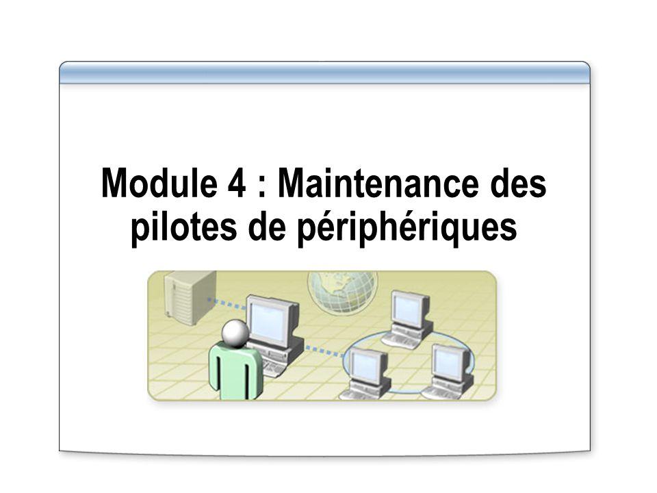 Vue d ensemble Configuration des options de signature des pilotes de périphériques Utilisation de la version précédente d un pilote de périphérique