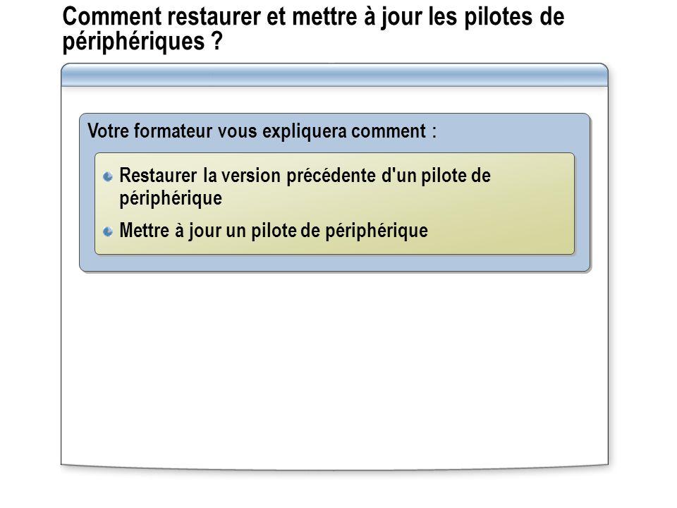Comment restaurer et mettre à jour les pilotes de périphériques ? Votre formateur vous expliquera comment : Restaurer la version précédente d'un pilot
