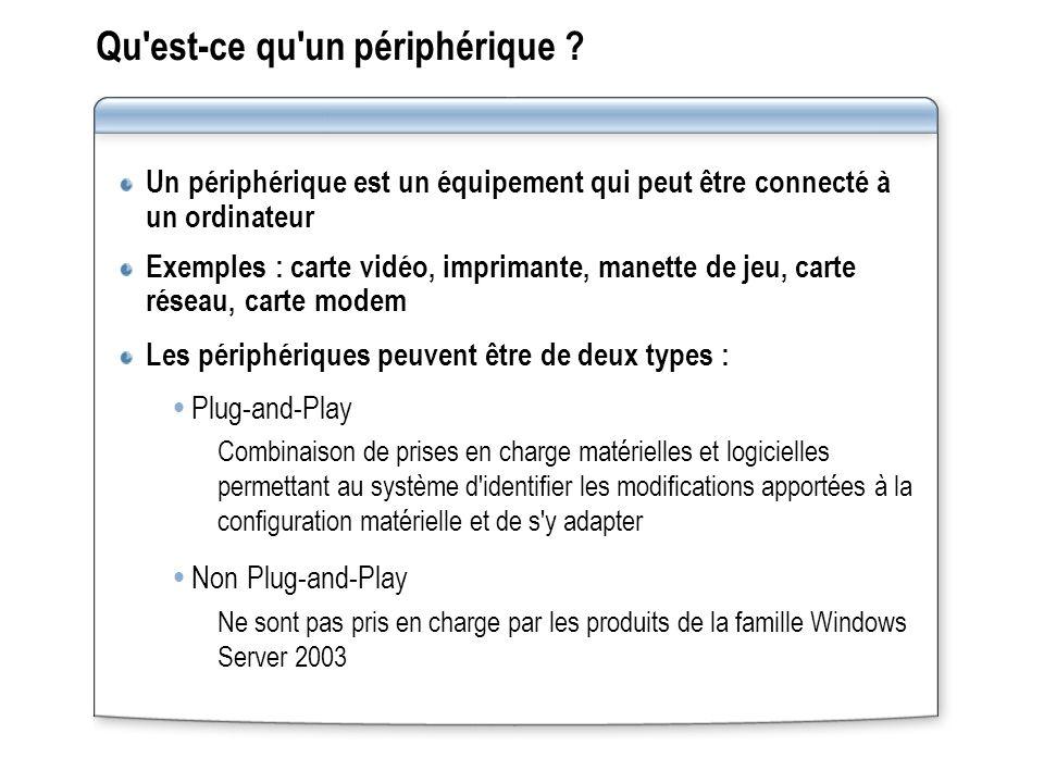 Qu'est-ce qu'un périphérique ? Un périphérique est un équipement qui peut être connecté à un ordinateur Exemples : carte vidéo, imprimante, manette de