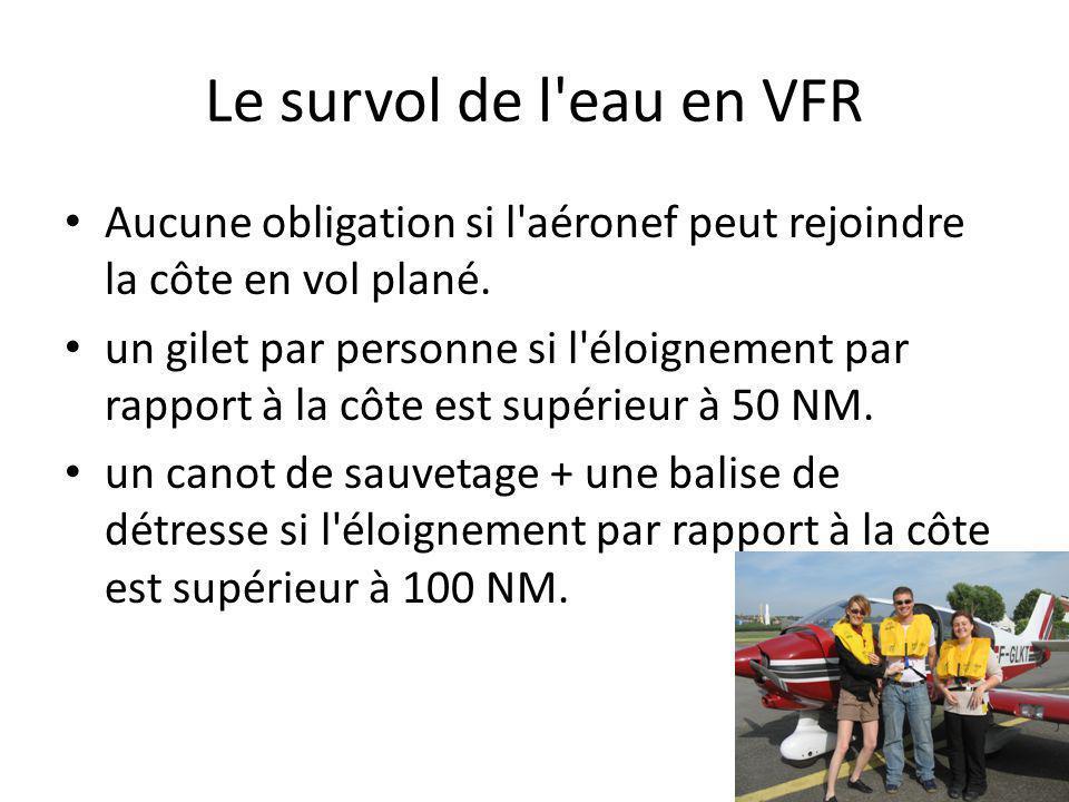 Le survol de l'eau en VFR Aucune obligation si l'aéronef peut rejoindre la côte en vol plané. un gilet par personne si l'éloignement par rapport à la