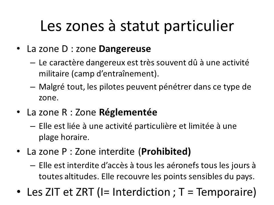 Les zones à statut particulier La zone D : zone Dangereuse – Le caractère dangereux est très souvent dû à une activité militaire (camp dentraînement).