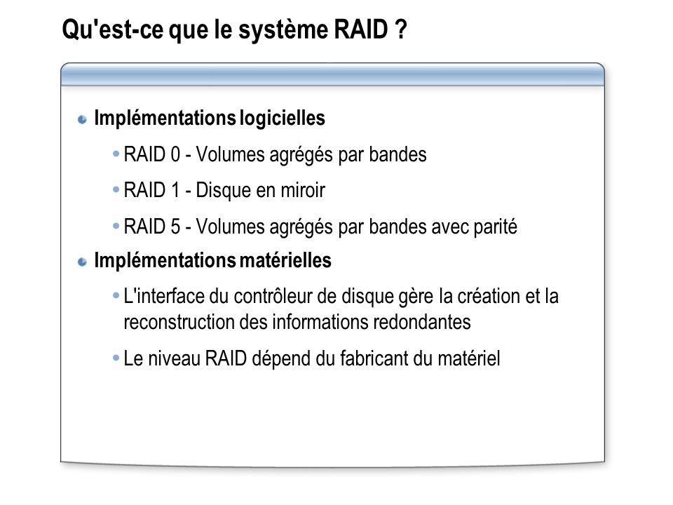 Qu'est ce que le système RAID ? Implémentations logicielles RAID 0 - Volumes agrégés par bandes RAID 1 - Disque en miroir RAID 5 - Volumes agrégés par