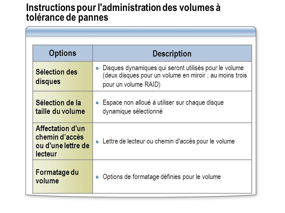 Instructions pour l'administration des volumes à tolérance de pannes Options Description Sélection des disques Disques dynamiques qui seront utilisés