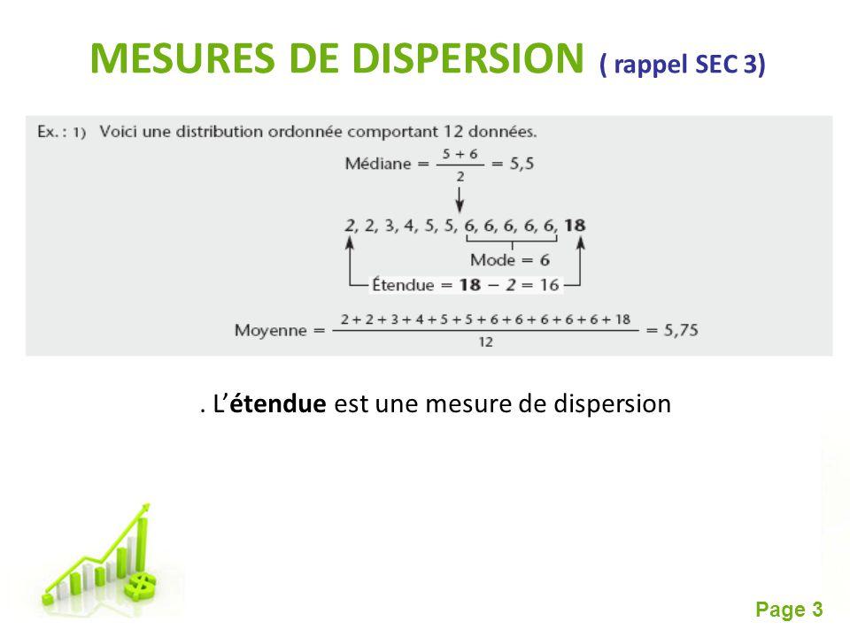 Free Powerpoint Templates Page 3 MESURES DE DISPERSION ( rappel SEC 3). Létendue est une mesure de dispersion