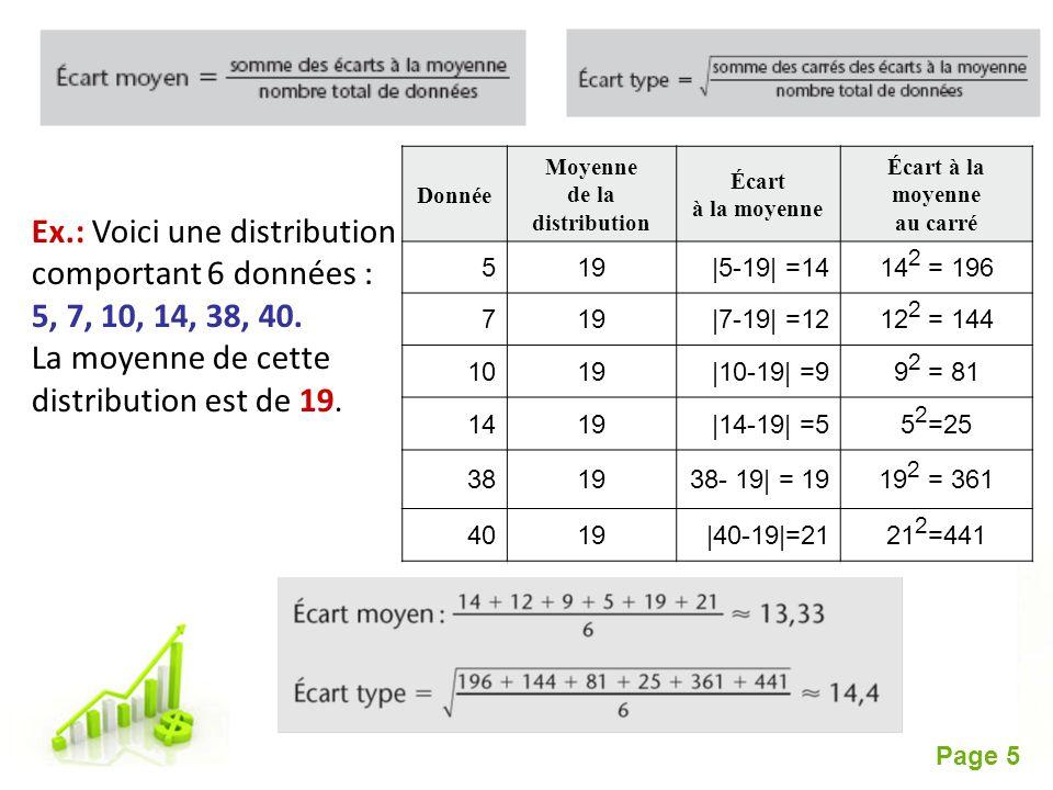 Free Powerpoint Templates Page 5 Ex.: Voici une distribution comportant 6 données : 5, 7, 10, 14, 38, 40. La moyenne de cette distribution est de 19.