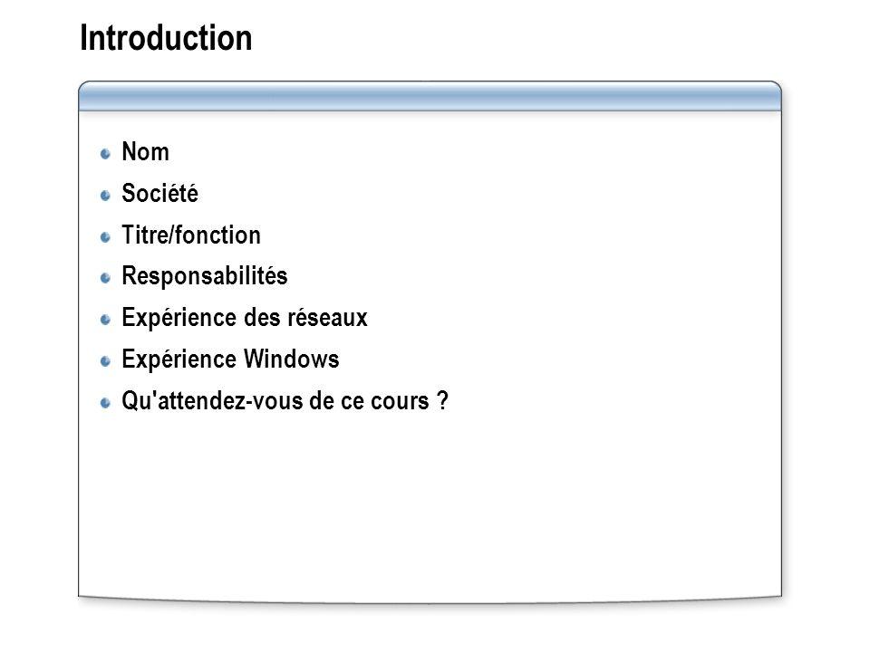 Introduction Nom Société Titre/fonction Responsabilités Expérience des réseaux Expérience Windows Qu'attendez-vous de ce cours ?