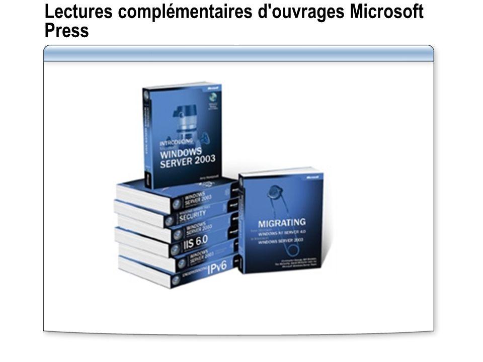 Lectures complémentaires d'ouvrages Microsoft Press