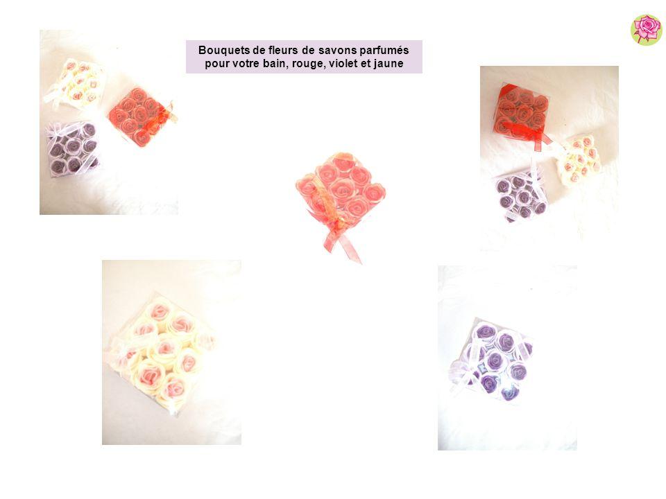 Bouquets de fleurs de savons parfumés pour votre bain, rouge, violet et jaune