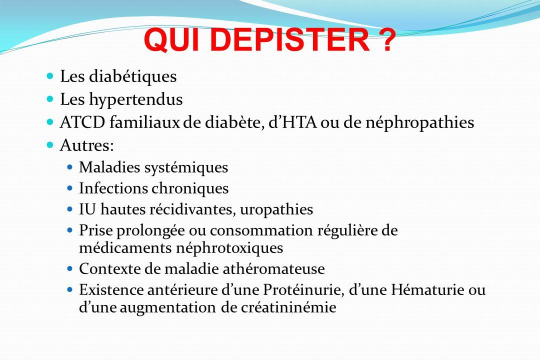 QUI DEPISTER ? Les diabétiques Les hypertendus ATCD familiaux de diabète, dHTA ou de néphropathies Autres: Maladies systémiques Infections chroniques