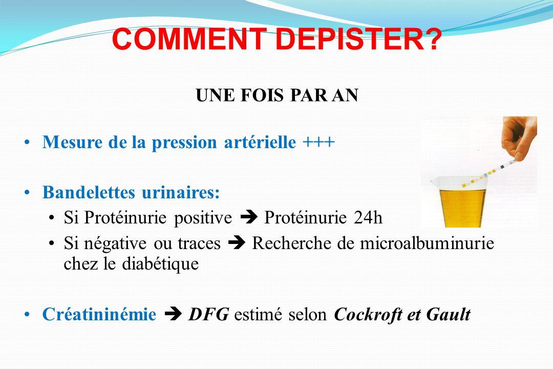 COMMENT DEPISTER? UNE FOIS PAR AN Mesure de la pression artérielle +++ Bandelettes urinaires: Si Protéinurie positive Protéinurie 24h Si négative ou t