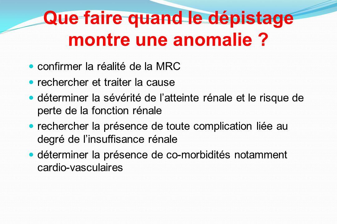 Que faire quand le dépistage montre une anomalie ? confirmer la réalité de la MRC rechercher et traiter la cause déterminer la sévérité de latteinte r