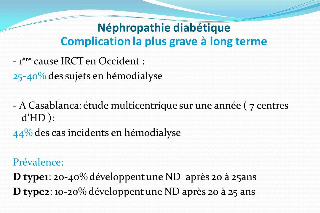 Néphropathie diabétique Complication la plus grave à long terme - 1 ère cause IRCT en Occident : 25-40% des sujets en hémodialyse - A Casablanca: étud