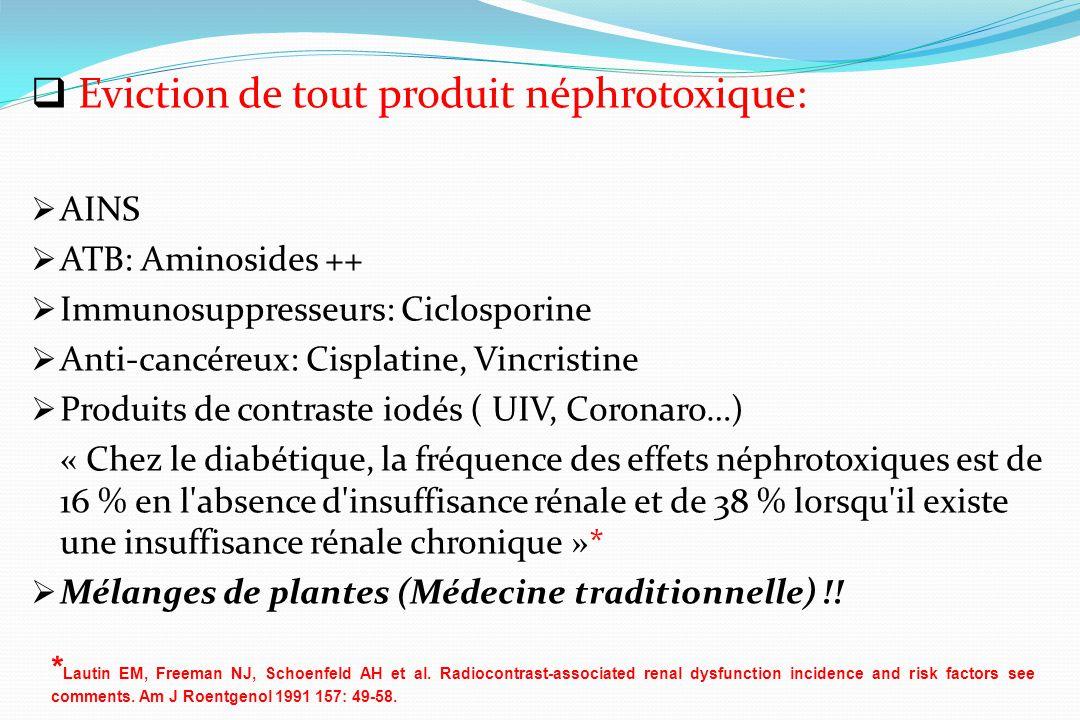 Eviction de tout produit néphrotoxique: AINS ATB: Aminosides ++ Immunosuppresseurs: Ciclosporine Anti-cancéreux: Cisplatine, Vincristine Produits de c